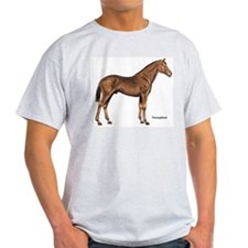 Thoroughbred Horse (Front) Ash Grey T-Shirt