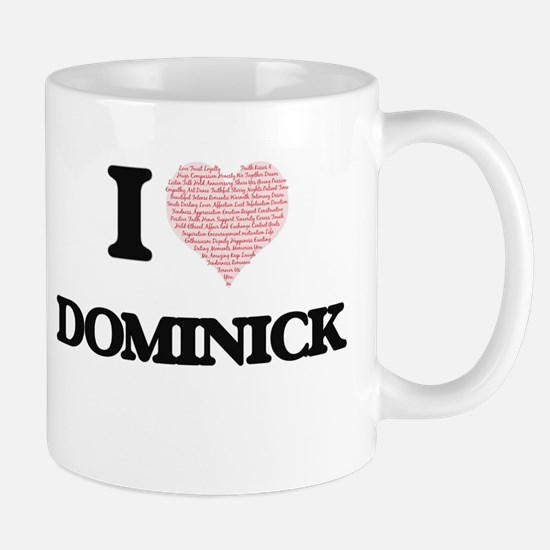 I Love Dominick (Heart Made from Love words) Mugs