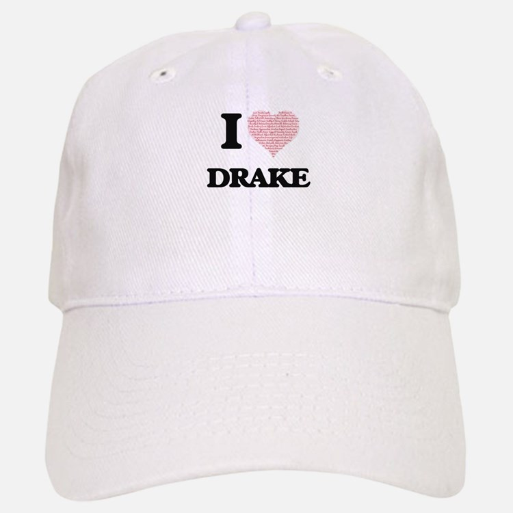 I Love Drake (Heart Made from Love words) Baseball Baseball Cap