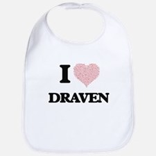 I Love Draven (Heart Made from Love words) Bib