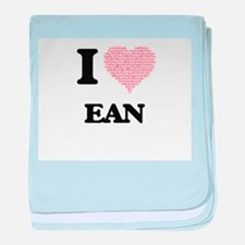 I Love Ean (Heart Made from Love word baby blanket