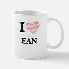 I Love Ean (Heart Made from Love words) Mugs