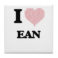 I Love Ean (Heart Made from Love word Tile Coaster