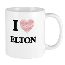 I Love Elton (Heart Made from Love words) Mugs