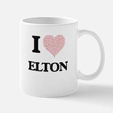 I Love Elton (Heart Made from Love words) Mugs