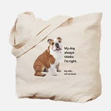 Bulldog v Wife Tote Bag