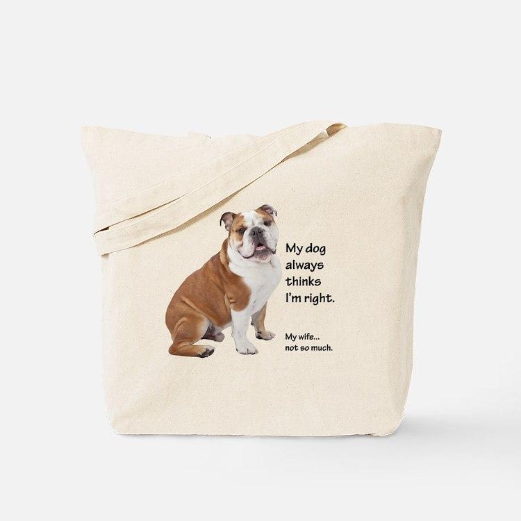 Bulldog v Wife Tote Bag