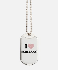 I Love Emiliano (Heart Made from Love wor Dog Tags
