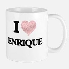 I Love Enrique (Heart Made from Love words) Mugs