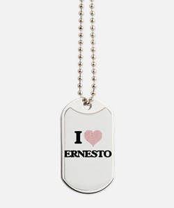 I Love Ernesto (Heart Made from Love word Dog Tags