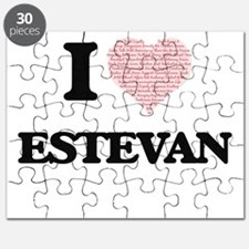 I Love Estevan (Heart Made from Love words) Puzzle