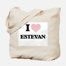 I Love Estevan (Heart Made from Love word Tote Bag