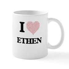 I Love Ethen (Heart Made from Love words) Mugs