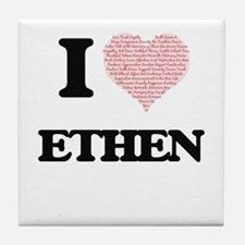I Love Ethen (Heart Made from Love wo Tile Coaster