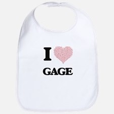 I Love Gage (Heart Made from Love words) Bib