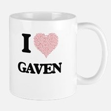 I Love Gaven (Heart Made from Love words) Mugs