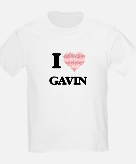 I Love Gavin (Heart Made from Love words) T-Shirt