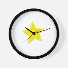 Yellow Star Wall Clock