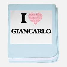 I Love Giancarlo (Heart Made from Lov baby blanket