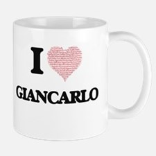 I Love Giancarlo (Heart Made from Love words) Mugs