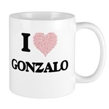 I Love Gonzalo (Heart Made from Love words) Mugs