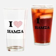 I Love Hamza (Heart Made from Love Drinking Glass