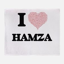 I Love Hamza (Heart Made from Love w Throw Blanket
