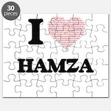 I Love Hamza (Heart Made from Love words) Puzzle