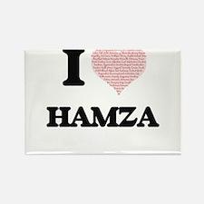 I Love Hamza (Heart Made from Love words) Magnets