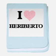 I Love Heriberto (Heart Made from Lov baby blanket