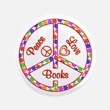 "Peace Love Books 3.5"" Button (100 pack)"