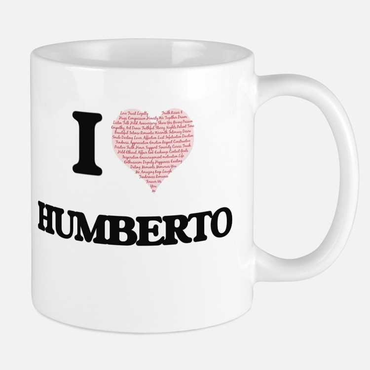 I Love Humberto (Heart Made from Love words) Mugs