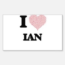 I Love Ian (Heart Made from Love words) Decal