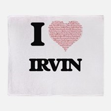 I Love Irvin (Heart Made from Love w Throw Blanket