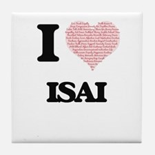 I Love Isai (Heart Made from Love wor Tile Coaster