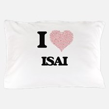 I Love Isai (Heart Made from Love word Pillow Case