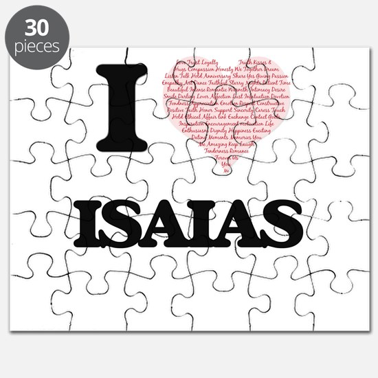 I Love Isaias (Heart Made from Love words) Puzzle