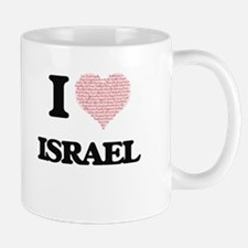 I Love Israel (Heart Made from Love words) Mugs