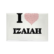 I Love Izaiah (Heart Made from Love words) Magnets