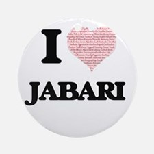I Love Jabari (Heart Made from Love Round Ornament