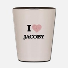 I Love Jacoby (Heart Made from Love wor Shot Glass