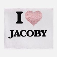 I Love Jacoby (Heart Made from Love Throw Blanket