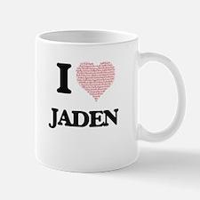I Love Jaden (Heart Made from Love words) Mugs