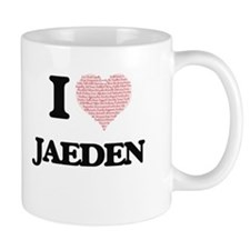 I Love Jaeden (Heart Made from Love words) Mugs
