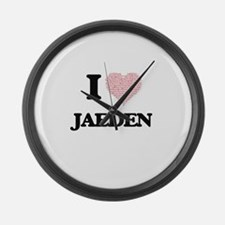 I Love Jaeden (Heart Made from Lo Large Wall Clock