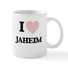 I Love Jaheim (Heart Made from Love words) Mugs