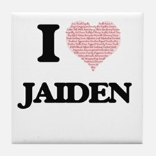 I Love Jaiden (Heart Made from Love w Tile Coaster
