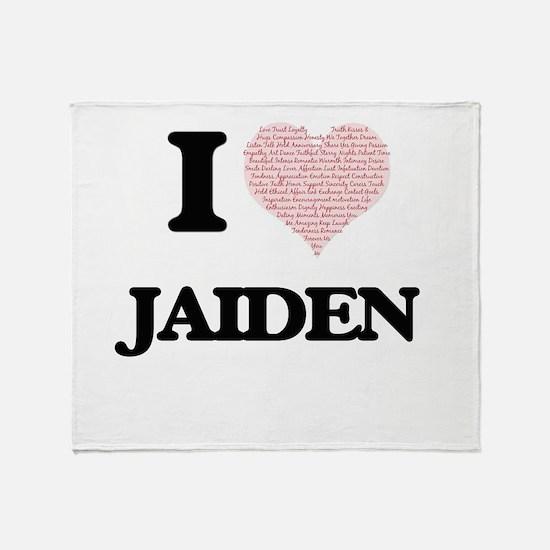 I Love Jaiden (Heart Made from Love Throw Blanket