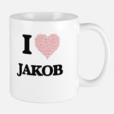I Love Jakob (Heart Made from Love words) Mugs