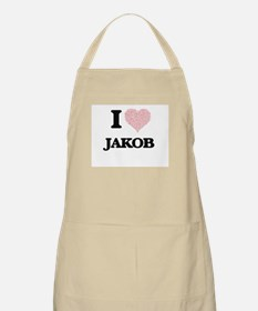 I Love Jakob (Heart Made from Love words) Apron